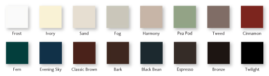 Milgard Essence Series Color Chips